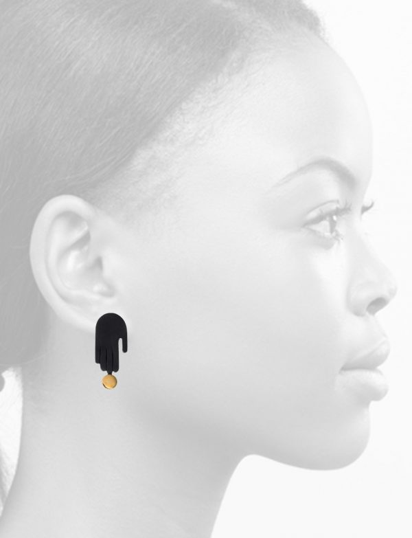 Soft Touch Stud Earrings – Black & Gold
