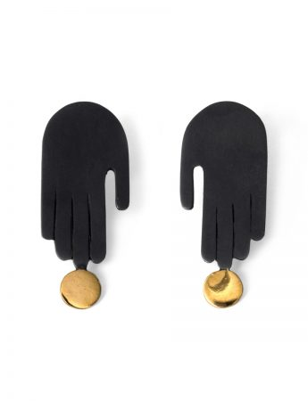 Soft Touch Stud Earrings - Black & Gold