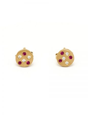 Speckled Stud Earrings - Ruby & Diamond