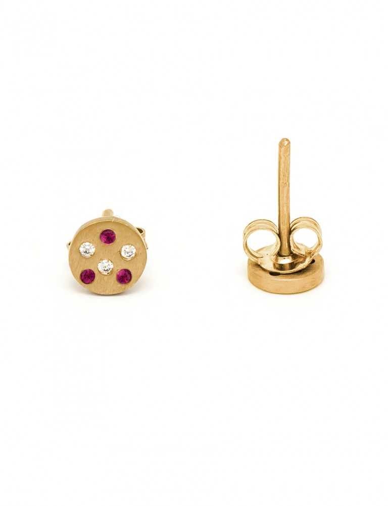 Speckled Stud Earrings – Ruby & Diamond