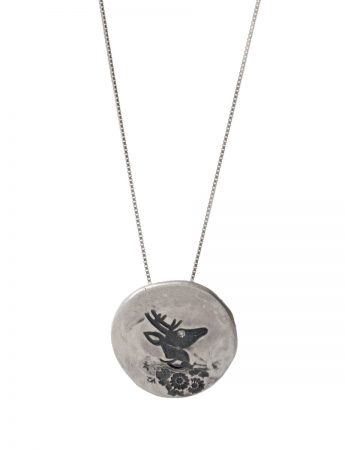 Stag Flower Necklace - Silver & Diamond