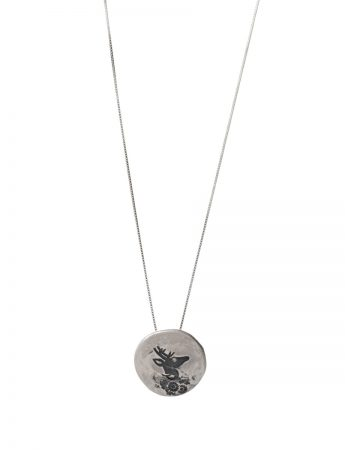 Stag Flower Necklace – Silver & Diamond