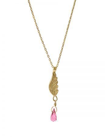 Gold Wing Necklace – Pink Tourmaline