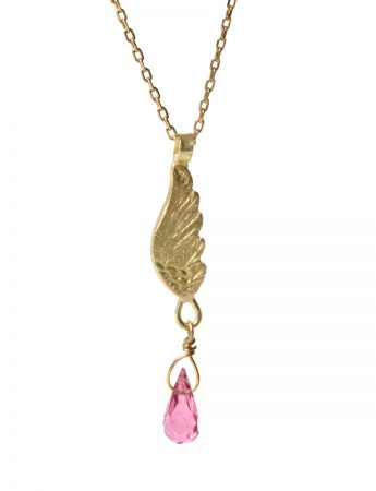 Gold Wing Necklace - Pink Tourmaline