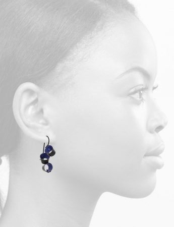 Short Foxglove Earrings - Black & Blue