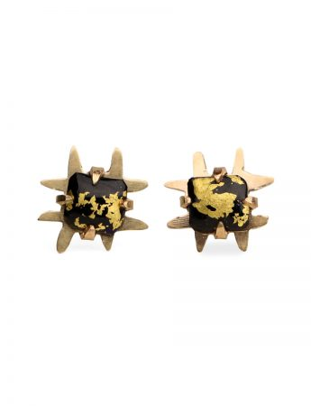Square Golden Nights Stud Earrings - Yellow Gold