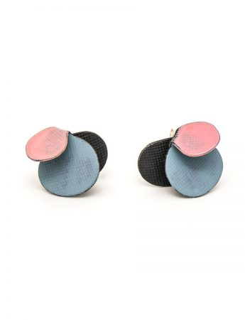 Violet Stud Earrings - Baby Blue & Pink