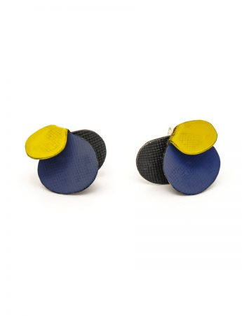 Violet Stud Earrings - Yellow & Royal Blue