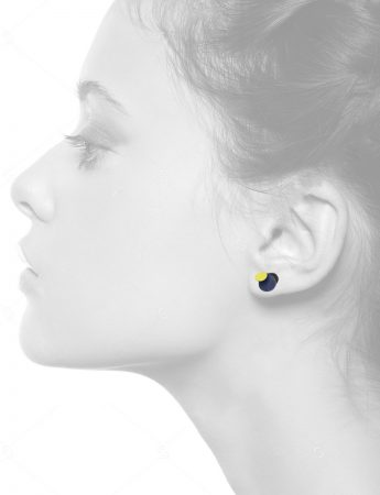 Violet Stud Earrings – Yellow & Royal Blue