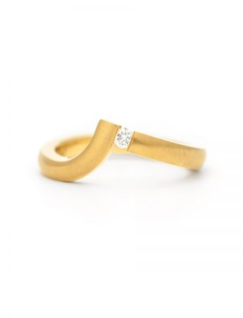 Angled Tension Set Ring - Gold & Diamond