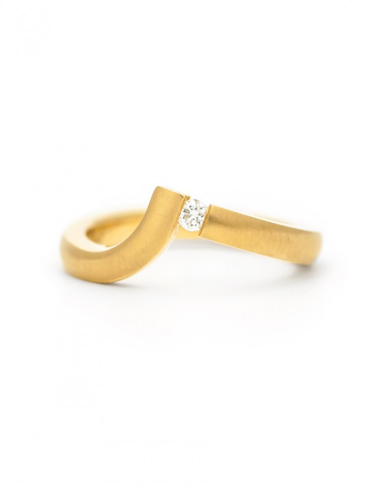 Angled Tension Set Ring – Gold & Diamond