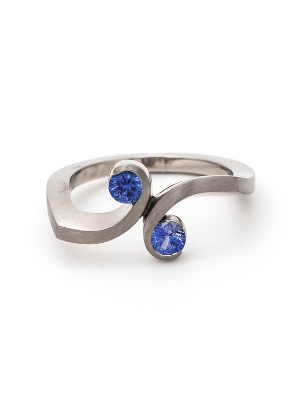 Double Swirl Ring – White Gold & Sapphire
