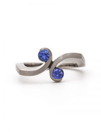 Double Swirl Ring - White Gold & Sapphire