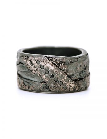 Organic Diamond Band - Blackened Silver & Palladium