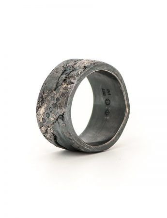 Organic Diamond Band – Blackened Silver & Palladium