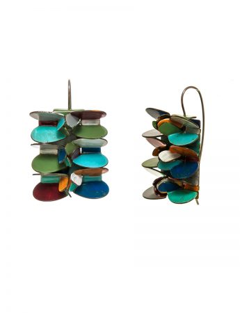 Rectangle Petal Earrings - Blue, Green, Yellow, Red