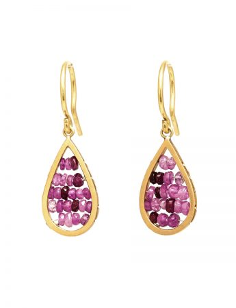 Reef Hook Earrings - Gold & Ruby