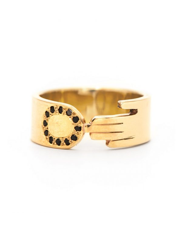 Soft Touch Ring – Gold & Black Spinel