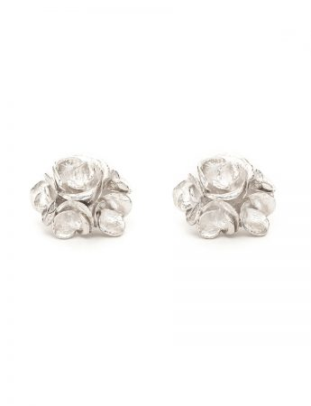 Wild Rose Stud Earrings - Silver