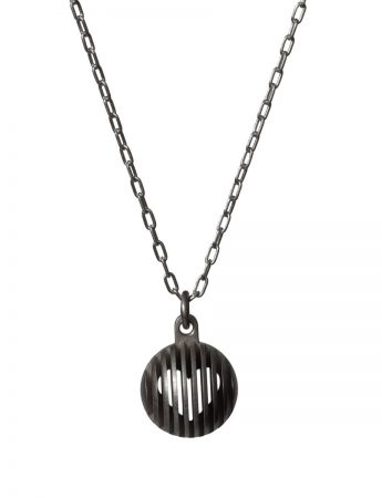 Black Secret Orb Pendant Necklace - Heart