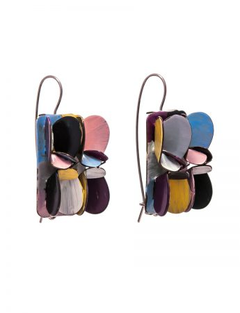 Rectangle Petal Earrings - Purple, Yellow, Blue