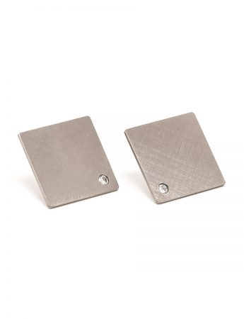 Square Earrings - Titanium & Diamond