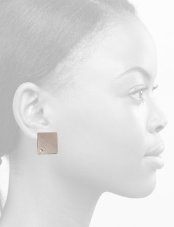 Square Earrings – Titanium & Diamond