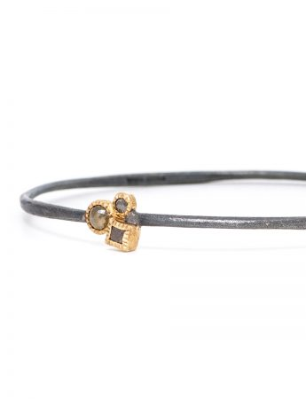 Raw Cube & Rose Cut Diamond Bangle