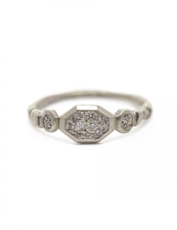 Small Hex Ring - White Diamonds