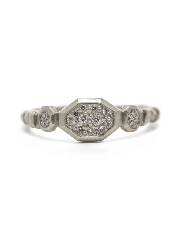 Small Hex Ring – White Diamonds
