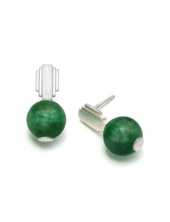 Empire State Stud Earrings - Green Quartz