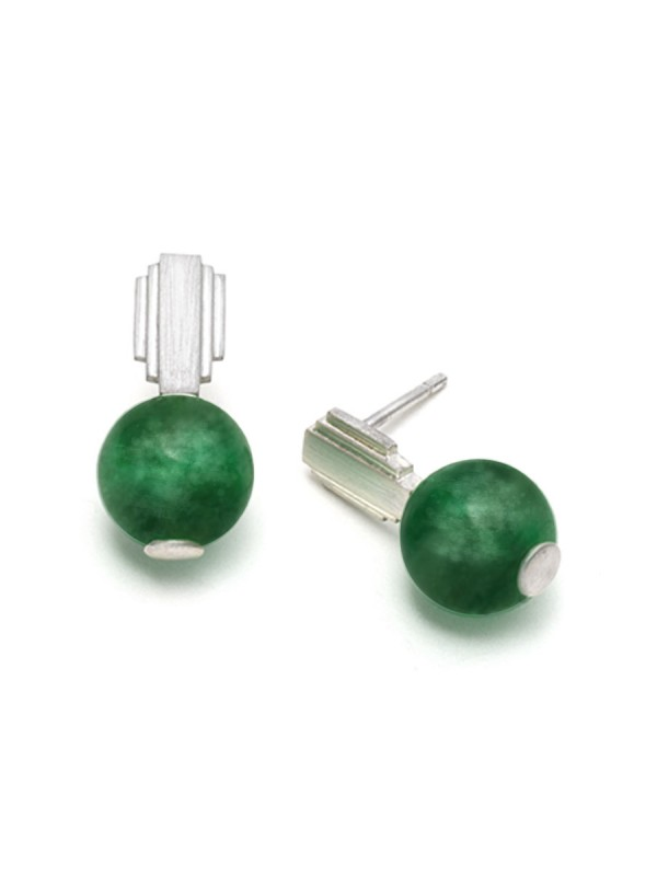 Empire State Stud Earrings – Green Quartz