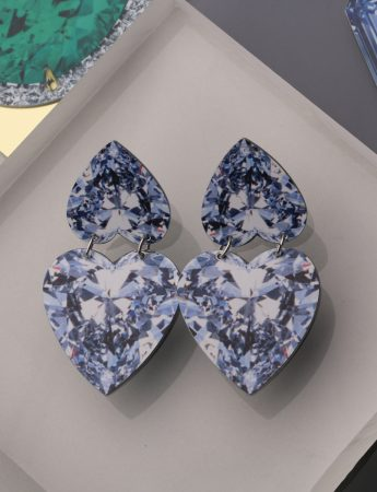Rocks Earrings – Double Diamond Hearts