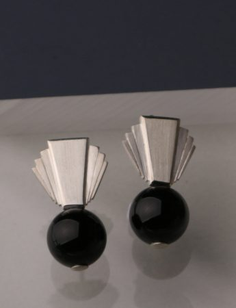 Fantail Earrings – Silver & Onyx