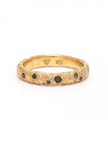 Golden Strike Domed Ring – Black Diamond