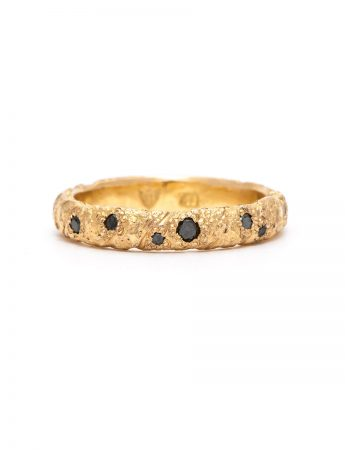 Golden Strike Domed Ring - Black Diamond
