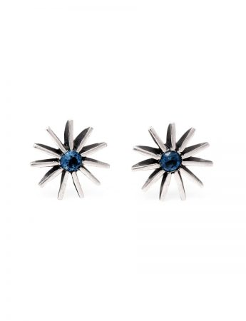 Large Radiant Star Earrings - Blue Sapphire
