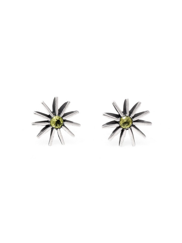 Small Radiant Star Earrings – Light Green Sapphire