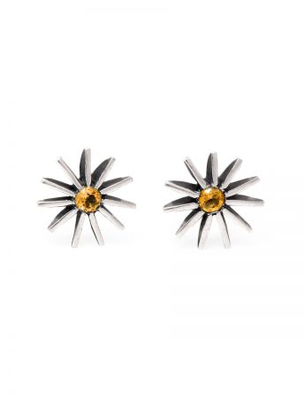 Large Radiant Star Earrings - Yellow Sapphire