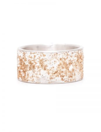 Wide Golden Earth Ring - Silver & Rose Gold