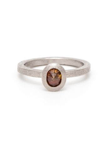 Amber Fire Diamond Ring - Palladium