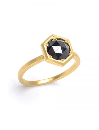 In the Deep Black Diamond Hexagon Ring