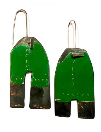 Apron Earrings - Green & White
