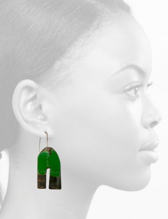 Apron Earrings – Green & White