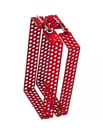 Red Rectangle Hoop Earrings