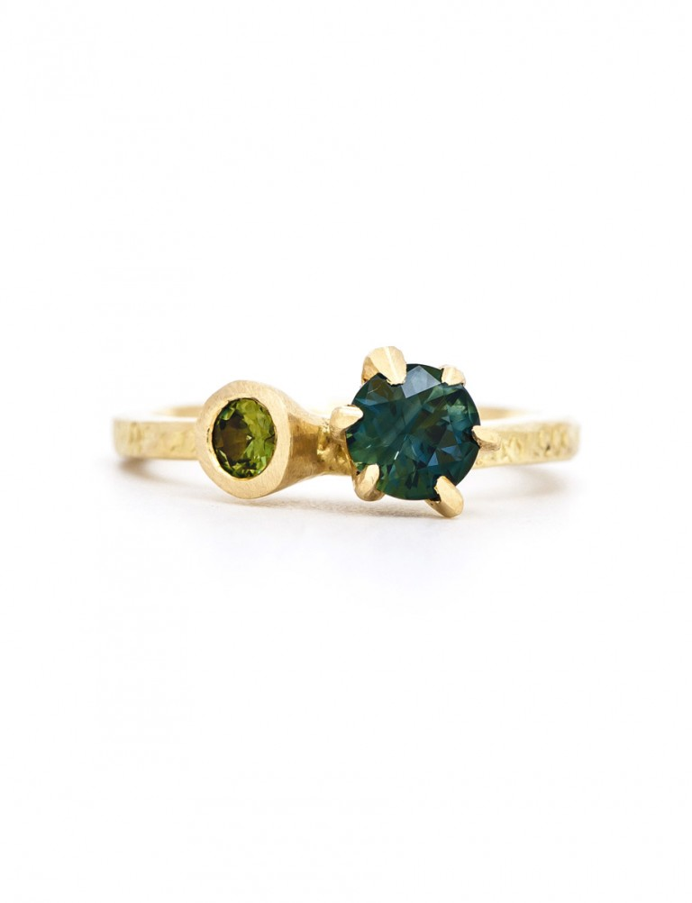 Textura Double Round Sapphire Ring