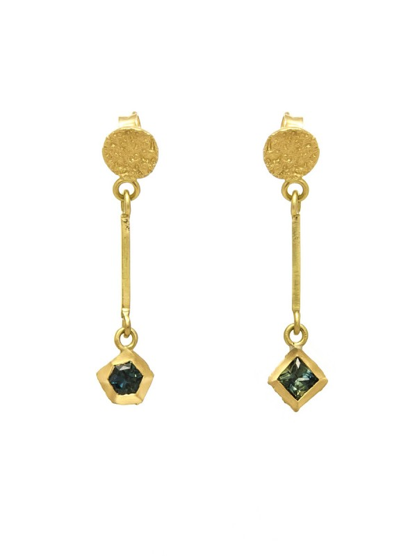 Textura Hex & Square Sapphire Earrings