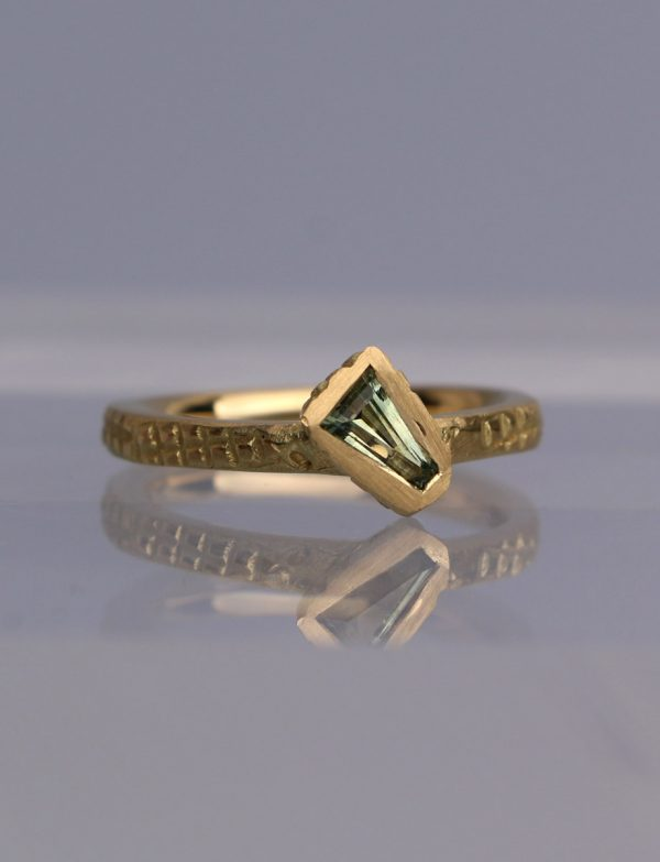Textura Tapered Baguette Sapphire Ring