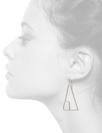 Sen Line Triangle Earrings – Silver