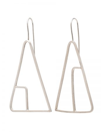 Sen Line Triangle Earrings - Silver